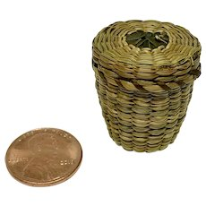 Miniature Native American lidded thimble basket