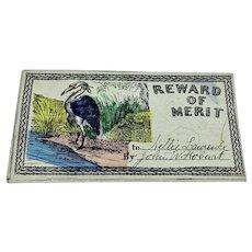 Antique hand colored reward of merit