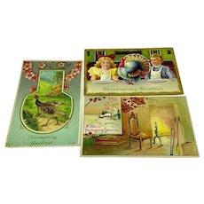 Three Thanksgiving postcards - turkey, fireplace