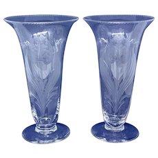 Pair of trumpet vases with tulip design - Tudor Crystal