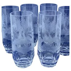 Set of six crystal highball glasses with forest hunting animals