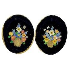 Pair of shell work pictures on velvet