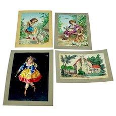 Set of four original ephemera pages - colorful delights