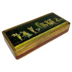 Florentine wooden box with Pompeii cherubs or angels