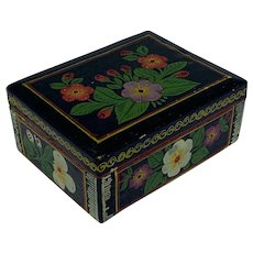 Hand painted wooden box with floral design