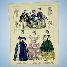 Antique French hand colored fashion plate