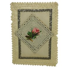 Paper lace valentine with 3-D pop-out effects - rosebud