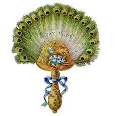 """Embossed valentine with die-cut edges - """"Ever Thine"""" peacock feather fan"""