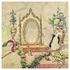 Antique French hand-colored print of ladies dressing table