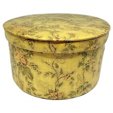 Floral cloth covered lidded storage box