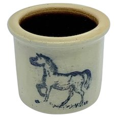 Miniature vintage salt crock with horse design