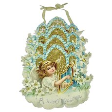 """""""A Happy Easter"""" - fold out, hang up, die cut card"""