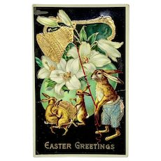 """""""Easter Greeting"""" - gel postcard with dancing bunny rabbits"""