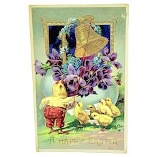 """""""A Happy Easter"""" - gel postcard with singing chicks"""
