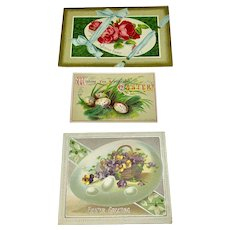 Set of three Easter cards with eggs