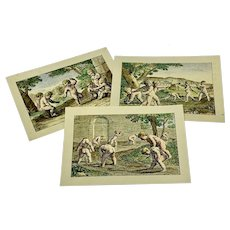 Miniature French hand-colored prints of cavorting cherubs