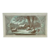 Shepherd with flock of sheep - trade card
