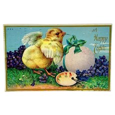 """""""A Happy Easter"""" - chick with paintbrush and palette"""