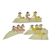 Set of 10 unused Art Deco place cards - women in hats