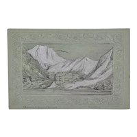 Miniature antique graphite and gouache Swiss scene