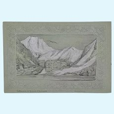 Miniature antique graphite and gouache Swiss scene