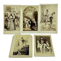 Grand Tour French, Italian, and Spanish cabinet cards - group of five