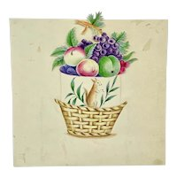 Antique hand painted miniature basket of fruit with secret squirrel