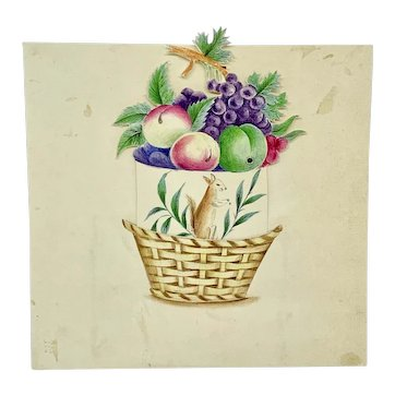 Antique hand painted miniature basket of fruit with secret squirrel