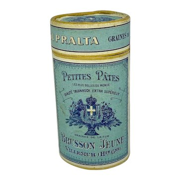French blue cylinder box of French petites pâtes BRUSSON JEUNE