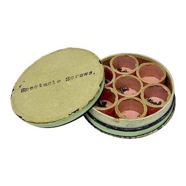Paper box with circular dividers and pink interior