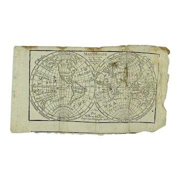Antique original miniature map of Mappe Monde