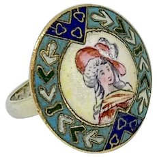Vintage enamel button ring - lady in pink hat
