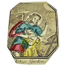 Antique French hand colored woodcut - Guardian Angel