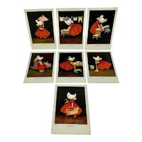 Sunbonnet Babies days of the week postcard set