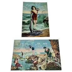 Pair of French bathing beauty postcards
