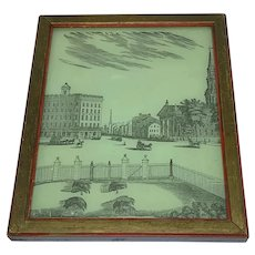 "Antique transfer print on glass ""View in Broadway New York"""