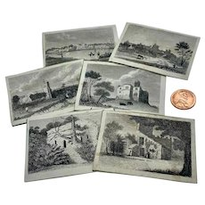 Set of six miniature antique prints of various subjects
