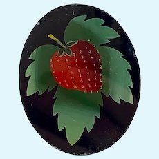 Antique reverse painted glass panel with strawberry
