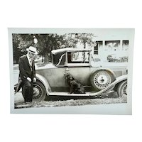 """Pals"" - photograph of man with his Irish Setter dog and Ford Model A roadster"