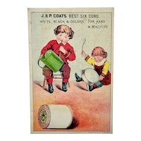 Trade card for J. & P. Coats thread, children playing with watering can and pan