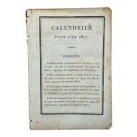 Antique miniature French calendar for 1825