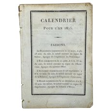 Antique miniature French calendar for 1825