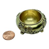 Miniature Japanese brass bowl with applied decoration