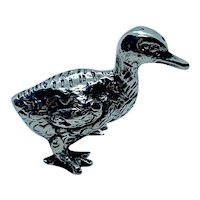 Miniature sterling silver duck figurine