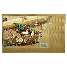 Santa carrying dolls and toys in airship - embossed Christmas postcard