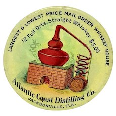 Atlantic Coast Distilling Co. celluloid pocket advertising mirror