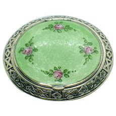 Art Deco Guilloche and Hand Painted Compact