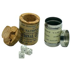 Vintage Miniature Advertising Canisters with Miniature Dice