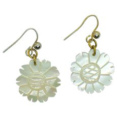 Hand Carved Mother of Pearl Earrings