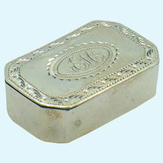 Antique Miniature Sterling Engraved Hinged Box